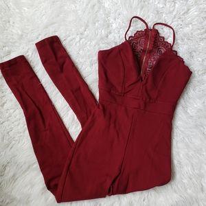 Fashion Nova XS burgundy jumpsuit lace back